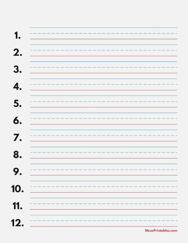 Printable Blue and Red Numbered Handwriting Paper 1 2