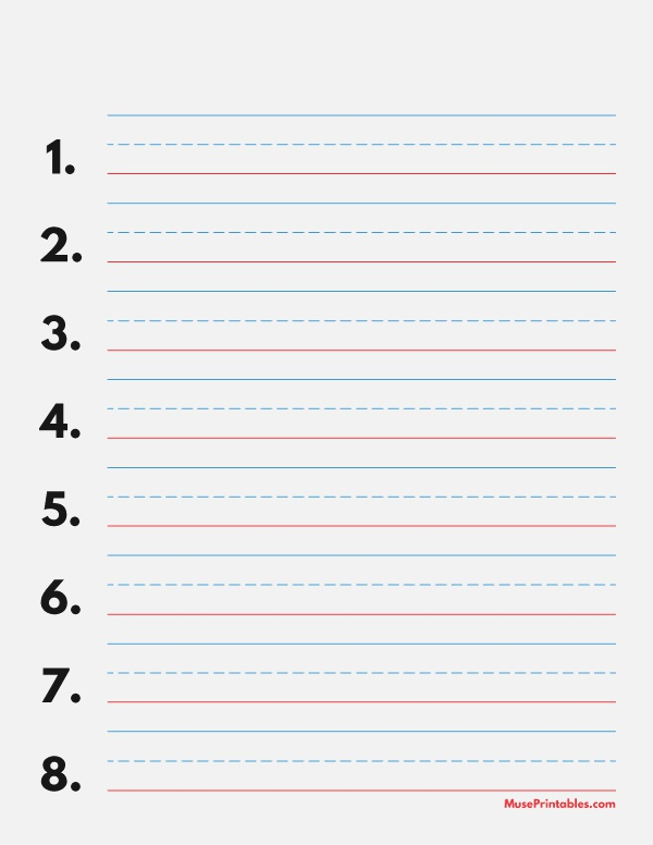 Printable Blue and Red Numbered Handwriting Paper 3 4