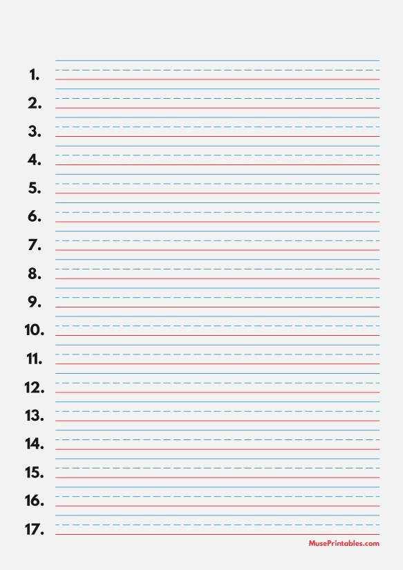 Printable Blue and Red Numbered Handwriting Paper 3 8