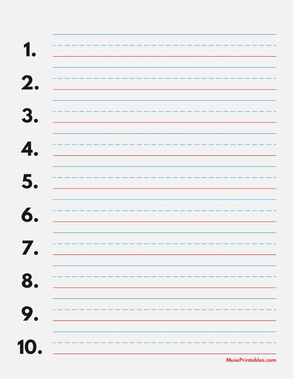 Printable Blue and Red Numbered Handwriting Paper 5 8