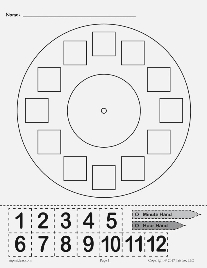 """Printable """"build A Clock"""" Telling Time Activity – Supplyme"""
