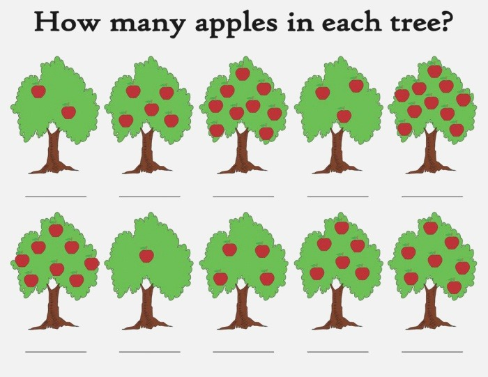 """""""how Many Apples In the Tree """" Printable Apple themed"""