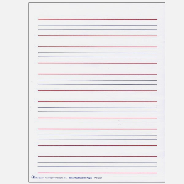 Raised Line Writing Paper Red and Blue Lines Package Of