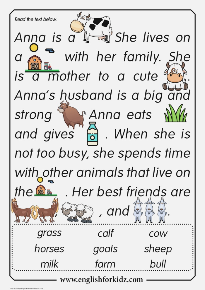Reading Prehension Worksheets Anna the Cow