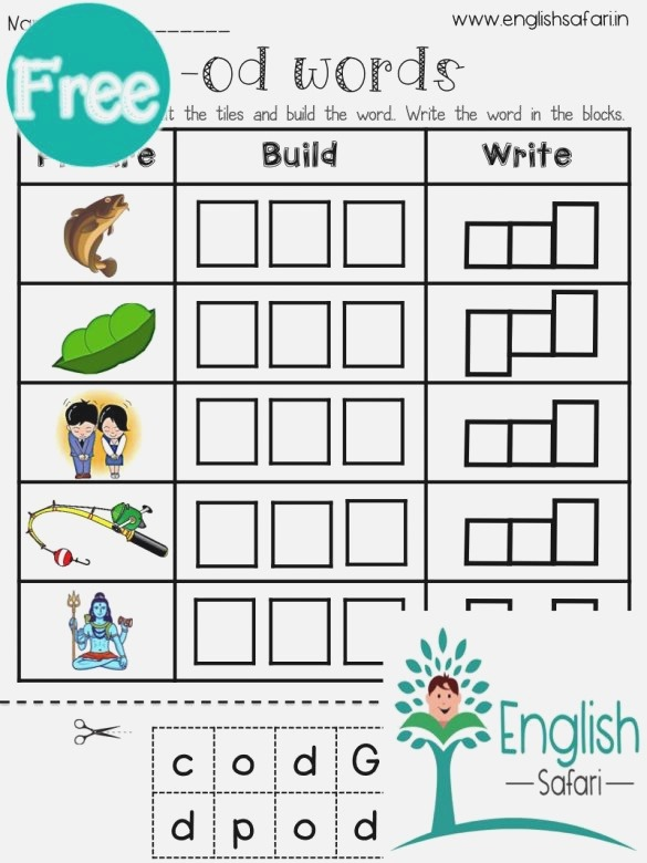 Short Vowel O Word Families Worksheets Free