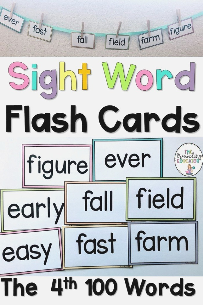 Sight Word Flash Cards the Fourth 100