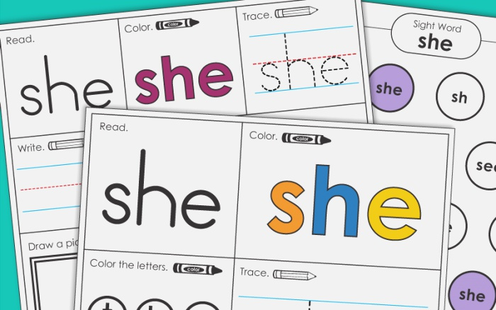 Sight Word She Worksheets