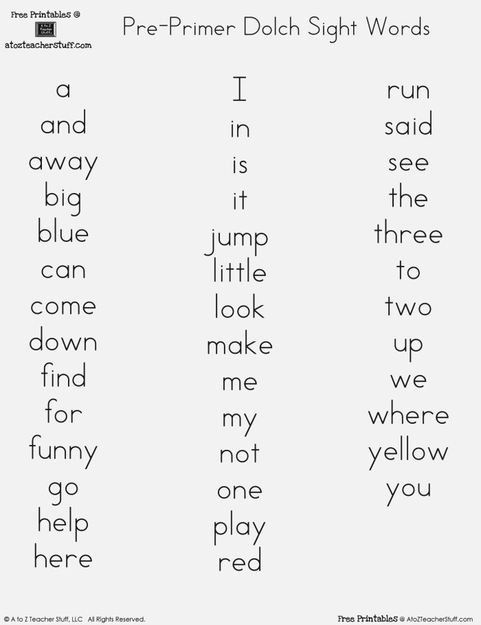 Sight Words Dolch Printable Words Print