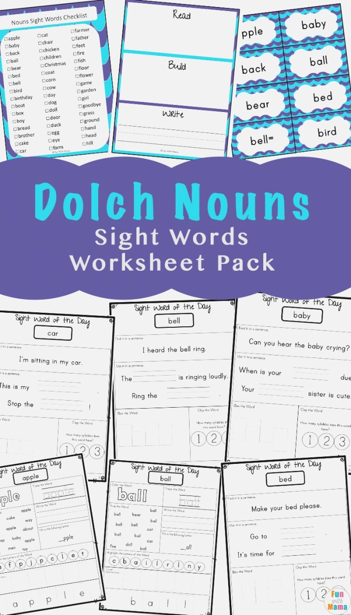 Sight Words Flash Cards Dolch Nouns Fun with Mama