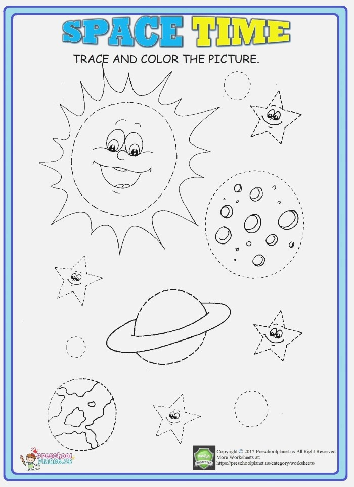 Space Trace Worksheet with Images