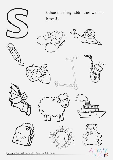 Start with the Letter S Colouring Page