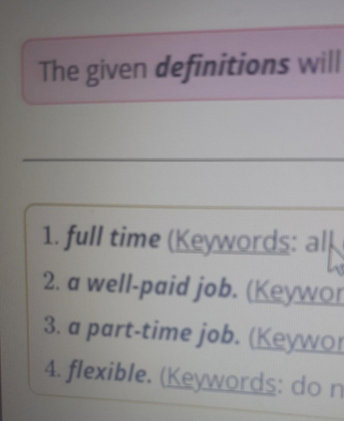 Study the Words and their Definitions then Plete the Se