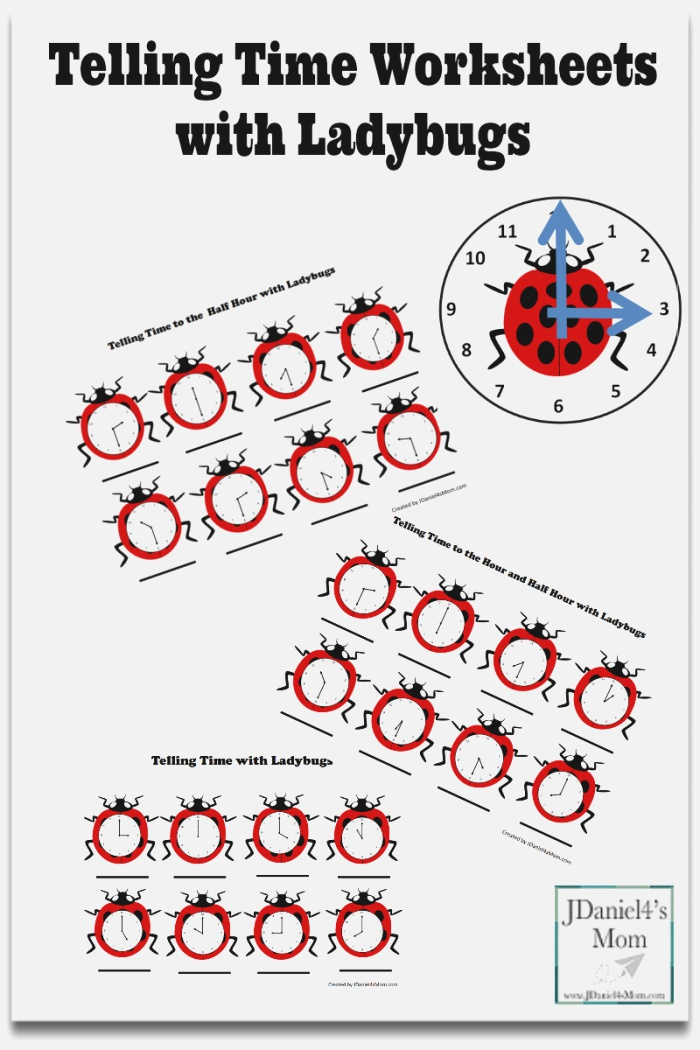 Telling Time Worksheets with Ladybugs