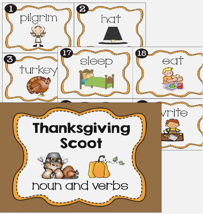 Thanksgiving Noun Verb Scoot with Images