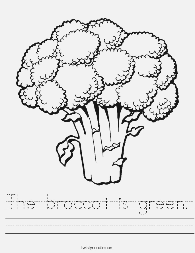 the Broccoli is Green Worksheet Twisty Noodle