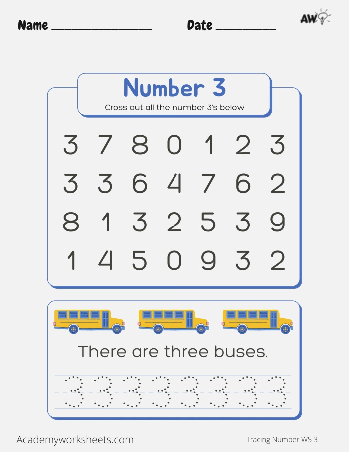 the Number 3 Tracing Academy Worksheets
