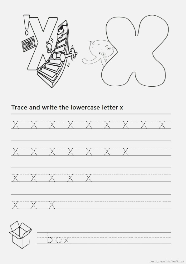 Trace and Write the Lowercase Letter X Worksheet for 1st