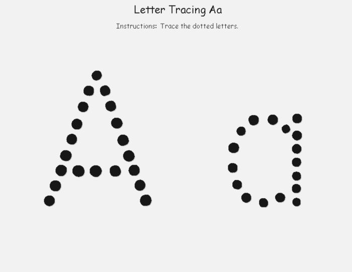Trace Letter A Sheets to Print