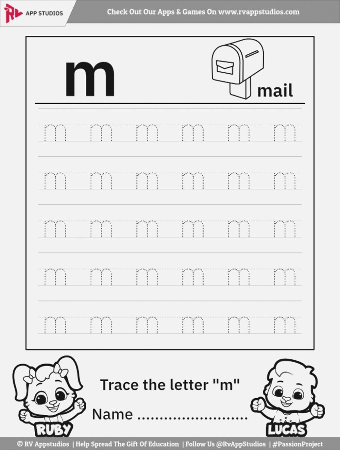 Trace Lowercase Letter M Worksheet for Free