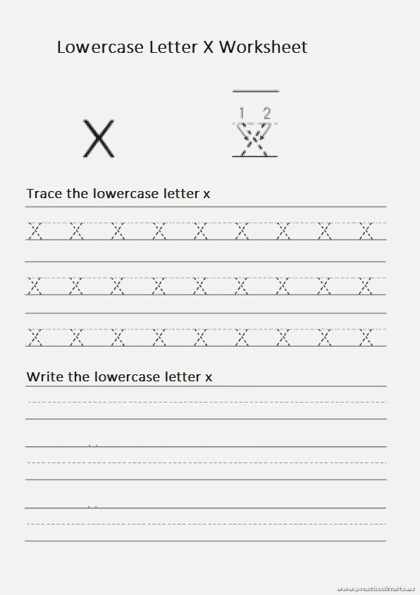 Trace Lowercase Letter X and Write Lowercase Letter X