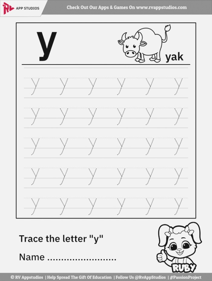 Trace Lowercase Letter Y Worksheet for Free