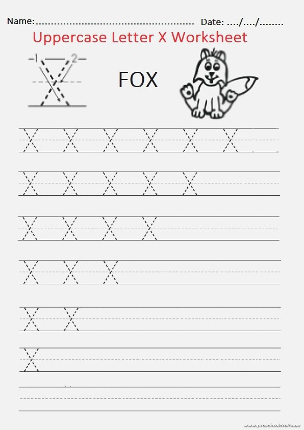 Trace the Uppercase Letter X Worksheet for Firstgrade and