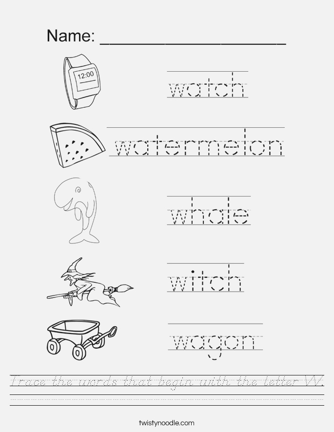 Trace the Words that Begin with the Letter W Worksheet D