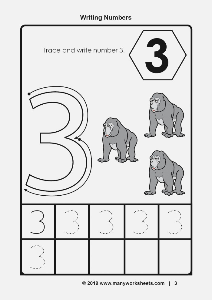 Tracing and Writing Number 3 Worksheet