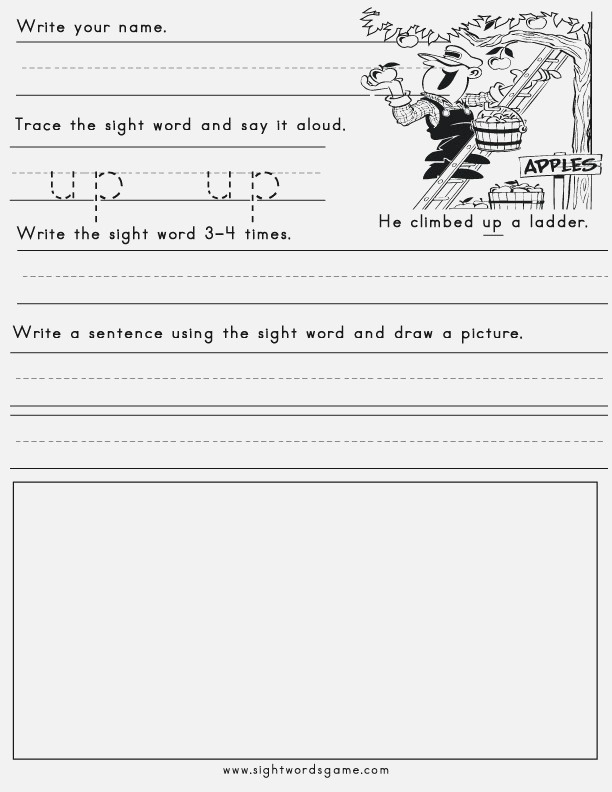Up Word Family Sight Words Reading Writing Spelling