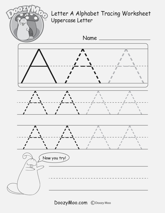 Uppercase Letter A Tracing Worksheet Doozy Moo