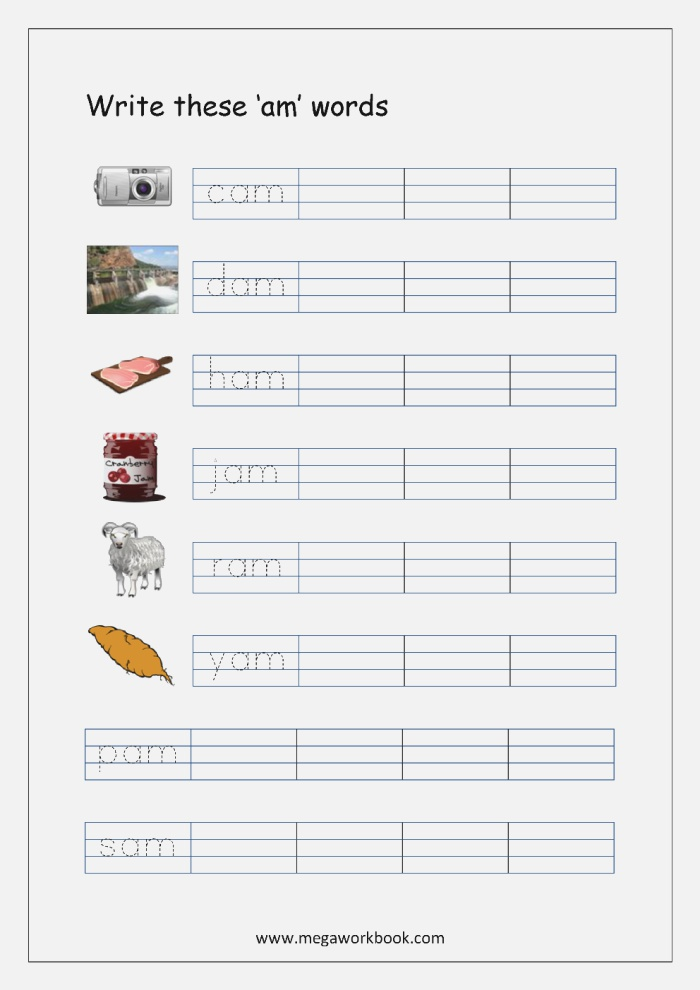 Worksheet for Words Ending with at