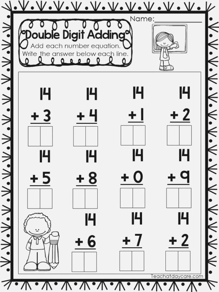 15 Printable Double Digit Addition Worksheets Numbers 11