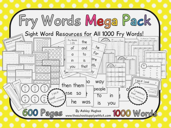 17 Best Images About Fry Sight Words On Pinterest