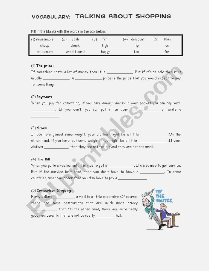 20 Parison Shopping Worksheets for Students
