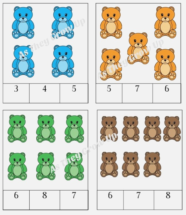 45 Pages Filled with Counting Bears Fun to Help with