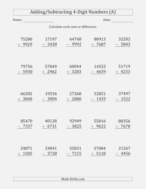 5 Digit Plus Minus 4 Digit Addition and Subtraction with