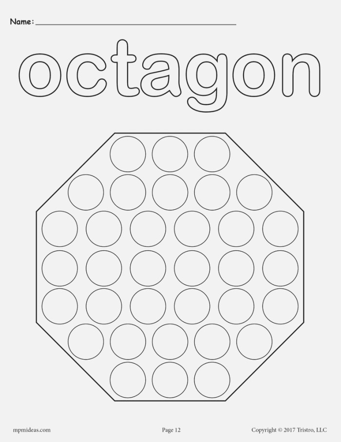 8 Octagon Worksheets Tracing Coloring Pages Cutting