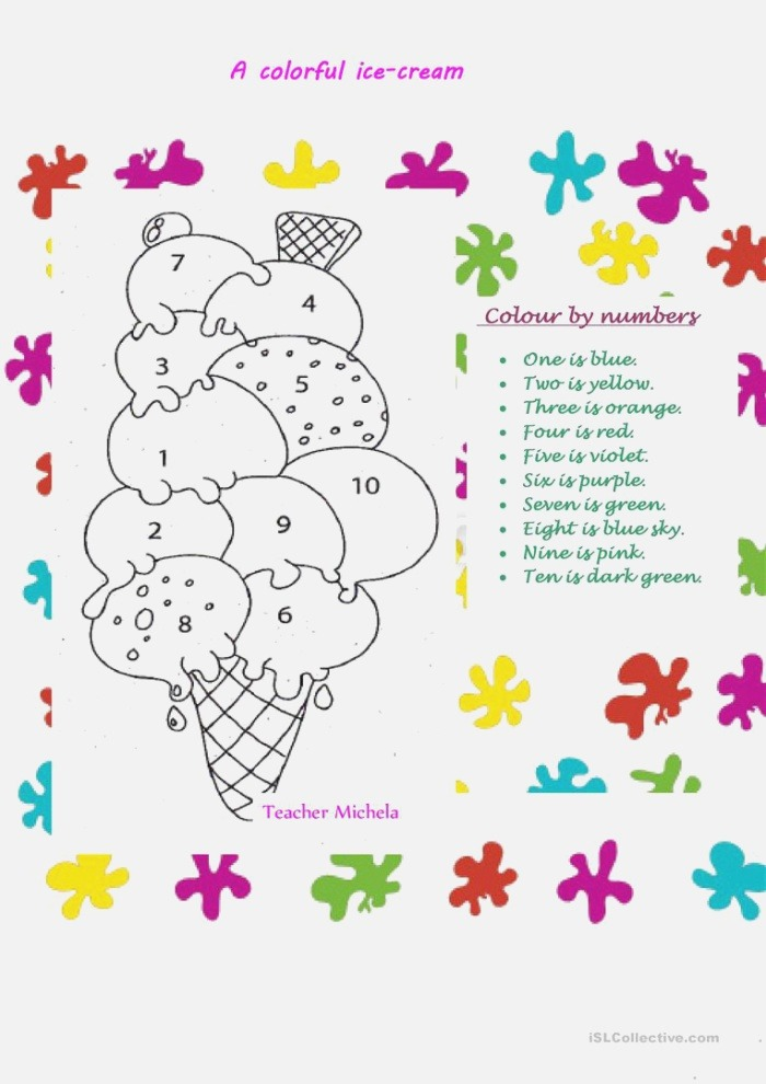 A Colorful Ice Cream English Esl Worksheets for Distance