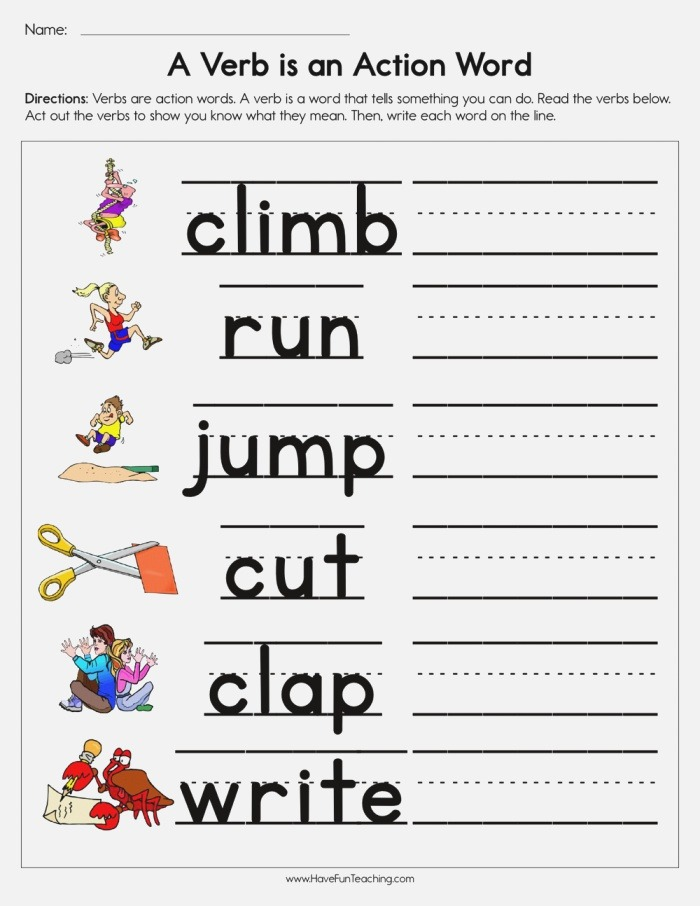 A Verb is An Action Word Worksheet