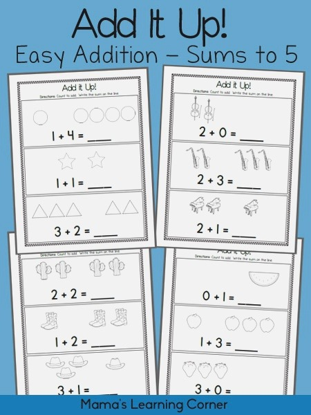 Add It Up Addition Worksheets Sums to 5 Mamas