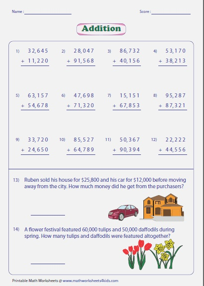 Adding Numbers Worksheets