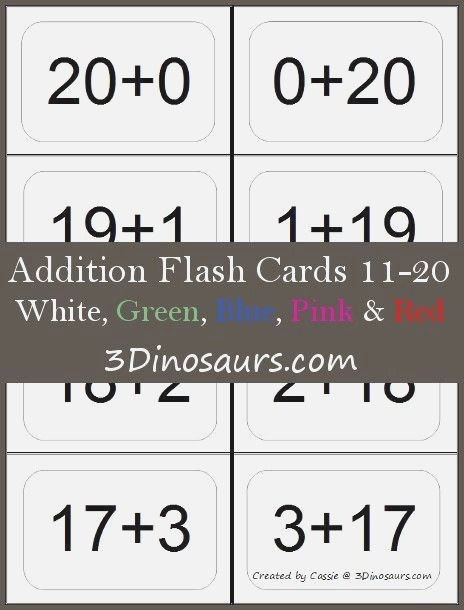 Addition Facts to 20 Flashcards Worksheets