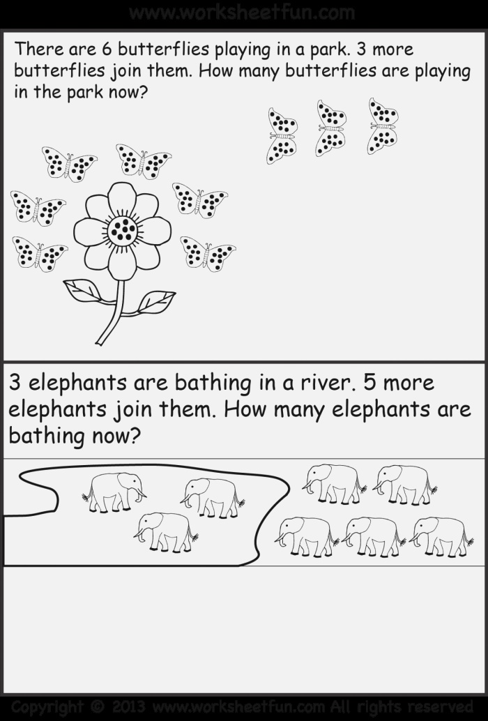 Addition Story Worksheets