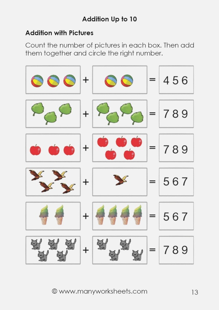 Addition with Sum Up to 10 Worksheets for Preschoolers