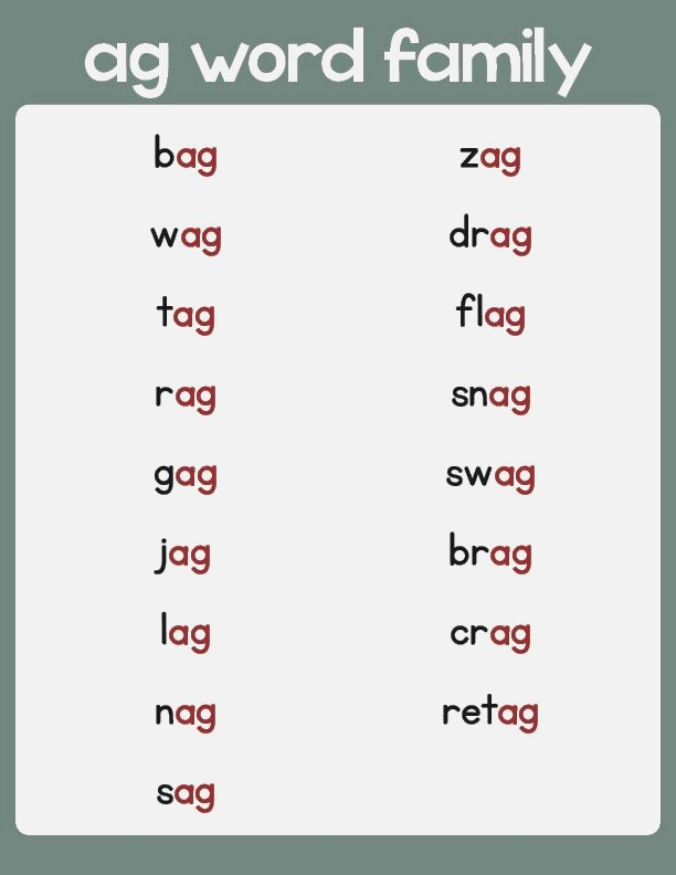 Ag Word Family List Primarylearning