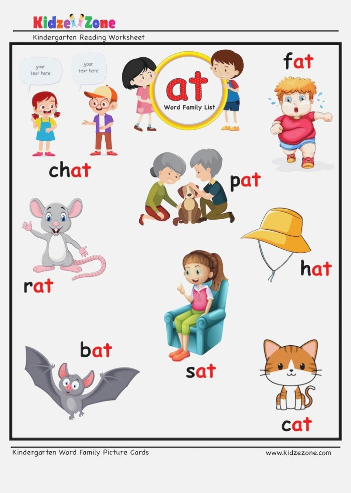 at Word Family Picture Card Worksheet