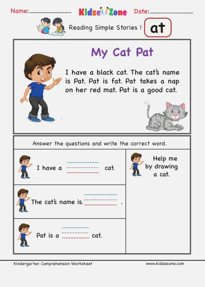 at Word Family Reading Prehension Printable