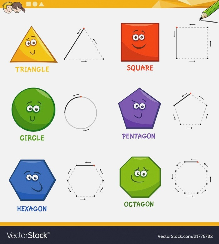 Basic Geometric Shapes Drawing Workbook Vector Image On In