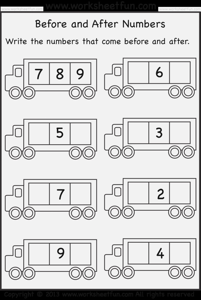 before and after Numbers – 5 Worksheets Free Printable