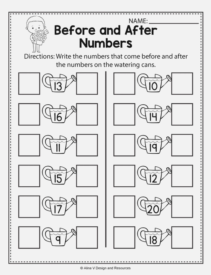 before and after Numbers Spring Math Worksheets and